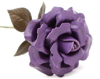 Leather flower purple long stem leather roser third anniversary wedding gift 3rd anniversary leather anniversary bouquet