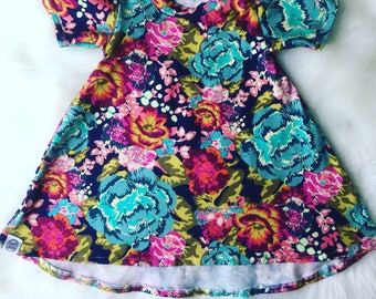 T-shirt dress/spring dress/short sleeve dress/colorful floral