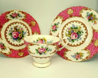 Vintage bone china Royal Albert trio in Lady Carlyle pattern