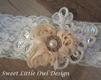 Special occasion ivory lace headband with sequins, chiffon flowers, and pearl gem for baby, child, gift, or photo prop