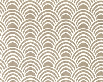 """Two 96"""" x 50""""  Custom Curtain Panels - Indoor Outdoor - Scallop - Taupe"""