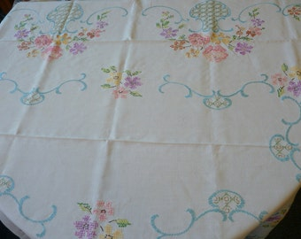 Vintage LINEN Tablecloth LARGE Embroidered Floral Cottage Chic