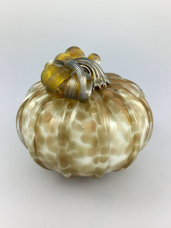 "4.5"" Glass Pumpkin by Jonathan Winfisky -Rose Gold Glimmer Series - Winter White - Hand Blown Glass"