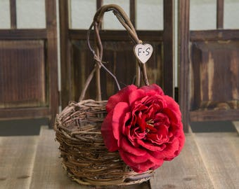 Small Rustic twig flower girl basket decorated with red sophia rose personalized with bride and groom initials other flowers to select from