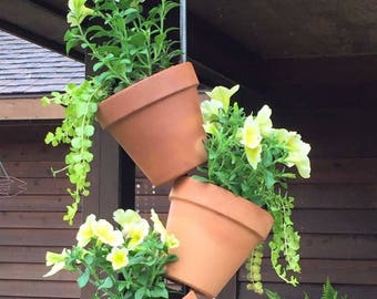 Hanging Planter Vertical Garden - 3 Pot Vertical Garden for Hanging Colorful Plants or Herbs