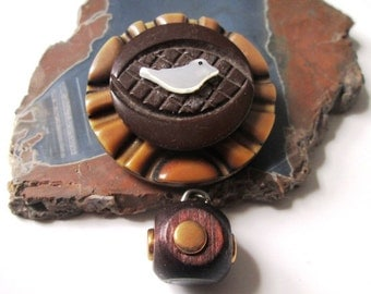 Vintage Button Pin/Pendant: Bird's Eye with Wood and Brass Cube Dangle and MOP Dove Vintage Button Jewelry