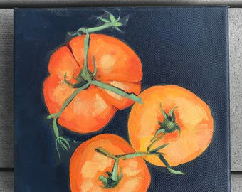 Small Original Acrylic Painting of Yellow Heirloom Tomatoes