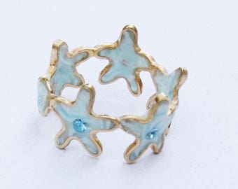 Mothers day .Spring jewelry, Flower ring, Light blue ring,  Light blue,  Light blue flower.