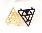 Dyeing Series - 46x 48mm  Filigree Nature / Black Geometrical Wood Dangle/ Wooden Charm/Pendant NM173