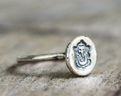 Size 5.25 - Sterling Silver Ganesh Ring - Lord Ganesha - Elephant  - Hindu - Yoga Jewelry - Good Luck - Lucky - Hand Stamped - Ready to Ship