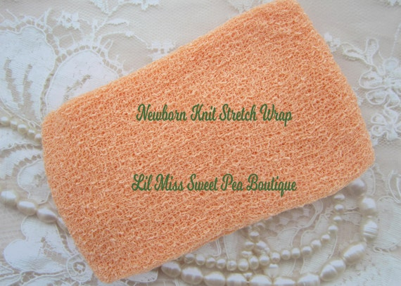 Peach Stretch knit wrap, soft and luxurious, a generous 12 x 55 laying flat, for newborn photo shoots, bebe, foto, by Lil Miss Sweet Pea