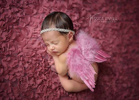 Dark Pink Angel Baby Wings with Matching beaded Pearl Headband, newborns, photo shoots, photographer, by Lil Miss Sweet Pea