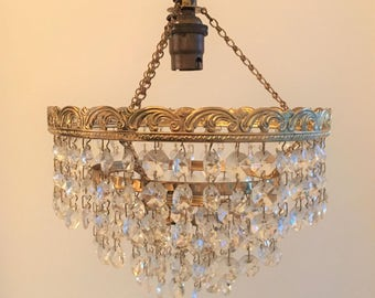 Gorgeous vintage chandelier with glass droplets, 1920s