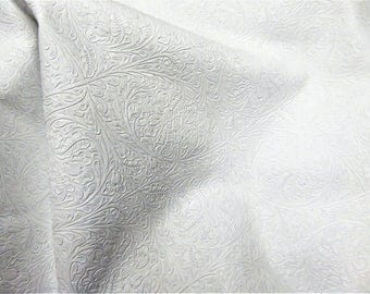 "Leather 8""x10"" Western CIRCLE Bright White KING Soft Embossed Cowhide 2-2.25 oz / .8-.9 mm PeggySueAlso™ E2812-06"