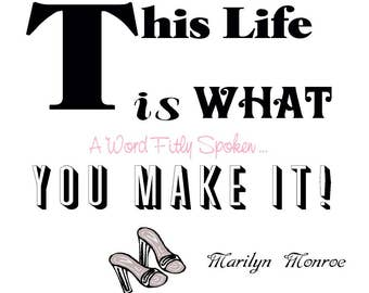 "DESTASH Marilyn Monroe 5x5 Fabric Charm Sq Quote ""This Life is What You Make It"" Black White Marilyn Monroe Fabric, Quilts, Crafts, Collage"