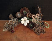 Antique Victorian Style Woven Hair / Sprig of Woven Hair / Mourning Woven Hair Flowers