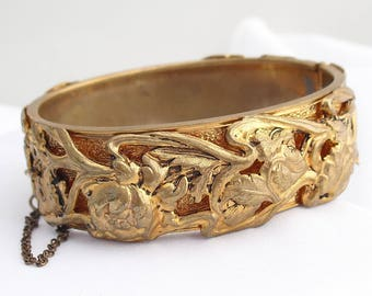 Victorian Revival Cuff Bracelet, Gilt Metal Floral Repousse with Safety Chain