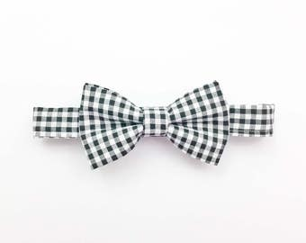 Black gingham hair bow,  baby hair bow, checkered bow clip, bow headband, checkered bow tie, hair bow, gingham headband, black check bow