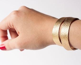 Leather Bracelet / Slim Wrap Cuff / Liquid Gold