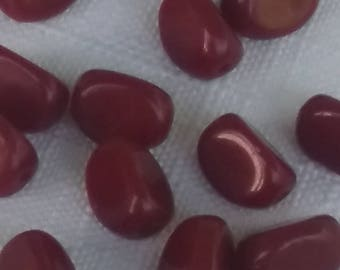 Vintage Czech glass BEADS nuggel shape 12mm Deep BURGUNDY red
