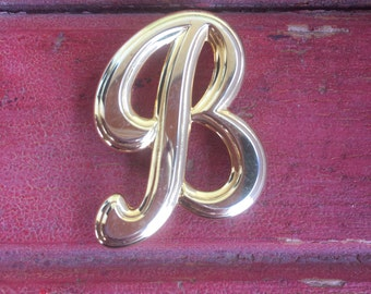 1- Letter B Pin Brooch Monogram Initial B pin jewelry gold tone