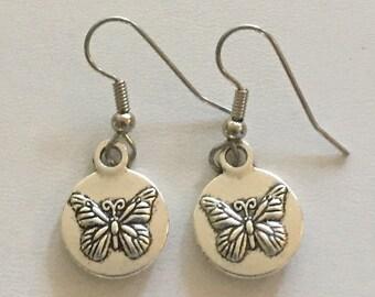 Little Round Butterfly Earrings