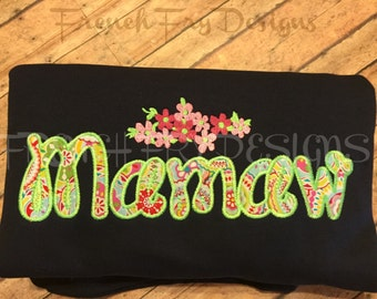 MAMAW applique shirt for Grandmother Customized and Personalized