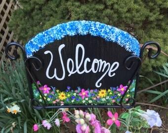 Wildflower Flower Garden Slate Sign Hand Painted Personalized Spring Summer Yard Art