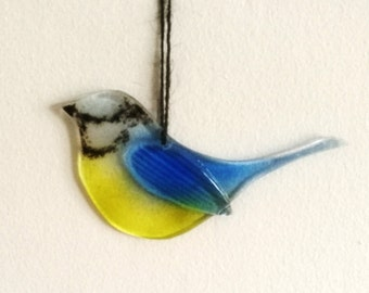 Fused Glass Bird Blue Tit