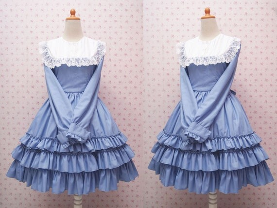 Baby Blue Long Sleeve Classic Victorian Dress With Pleated Collar and Ruffle Skirt - Long Sleeve Vintage Dress - Custom to your size