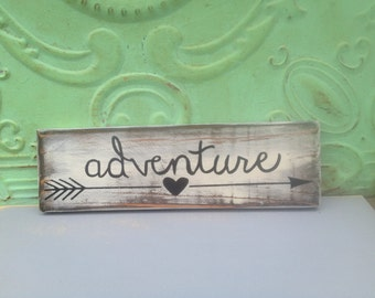 Shabby Chic Adventure Sign, Home Decor Adventure Sign, Gallery Wall Sign Decor