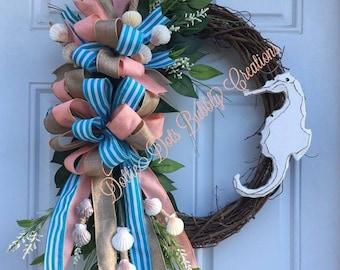 Seahorse Beach Wreath, Beach Wreath, Seashell Wreath, Summer Wreath, Everyday Wreath