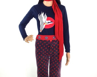 Beautiful 70s Flared Velvet Star Print Trousers In Size XXS