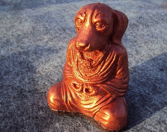 Meditating Dog, Copper Metal Powder Coated Stone, Shipping Included