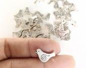 45pc birds beads antiqued silver color small doves birds beads destash