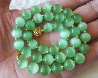 free shipping- opal necklace, 10 mm green opal necklace