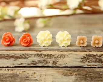 Flower Earring Studs Trio: Coral Orange Rose, Sand Sakura Blossom, Buttercream Ribbon Flower