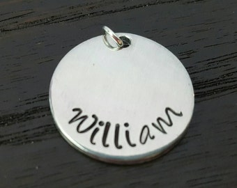 "3/4"" Disc Hand Stamped Charm, Add on Charm by Miss Ashley Jewelry"