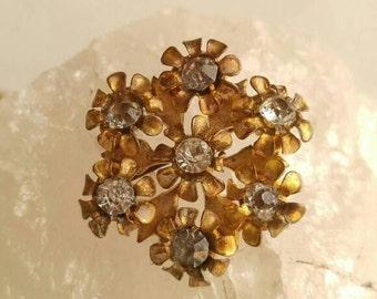 Edwardian flower bouquet brooch gold tone vintage antique diamante paste stones Victorian c clasp