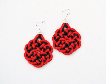 Red and black earrings, statement earrings, red earrings, knot earrings, japanese knots, chinese knots, macrame earrings, gift idea