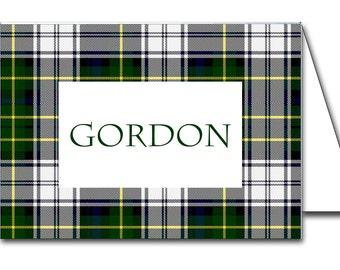 Instant Download Dress Gordon Tartan Plaid Printable Place Cards