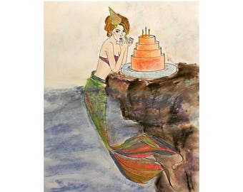 Birthday Mermaid, Cake by the Ocean, Mermaid Birthday Party, Fashion Illustration, Mixed Media Giclee Art Print