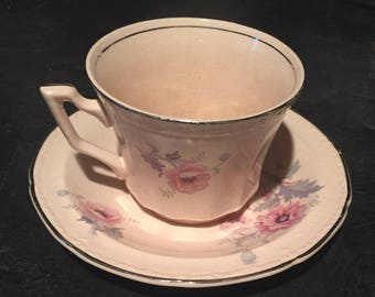 Alice Ann May glow 1930 Edwin M. Knowles  Cup and Saucer China Damaged price reduced.