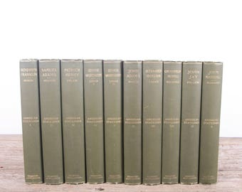 1899 American Statesmen 10 Volume Book Set / Houghton / Antique History Books / Old Books Vintage Books / Green Decorative Books