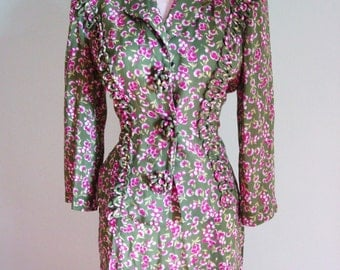 ADORABLE green and pink 1940s Floral Print Vintage Dress Suit Set