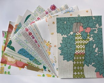 """1960s Vintage wallpaper sample pack- little girls and flowers (10 sheets, 8.5x11.5"""")"""