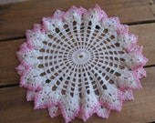 """Pink and White Crochet Doily with Ruffled Edge, 9 3/4"""" Vanity Scarf, Cottage Chic"""