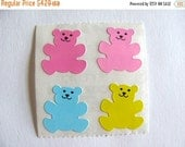 ON SALE Rare Vintage Sandylion Pastel Kromekote Bear Stickers - 80's Teddy Bear Small Module Pink Baby Blue Scrapbook Collage