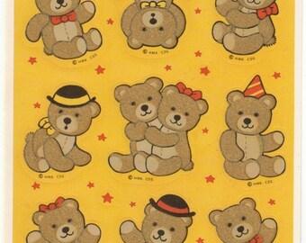 ON SALE Rare Vintage Hallmark Fuzzy Teddy Bear Sticker Sheet - 80's Retro Adorable Flocked Bow Tie Bowler Party Hat