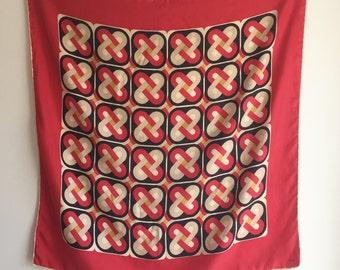 Vintage Echo Red Silk Square Scarf